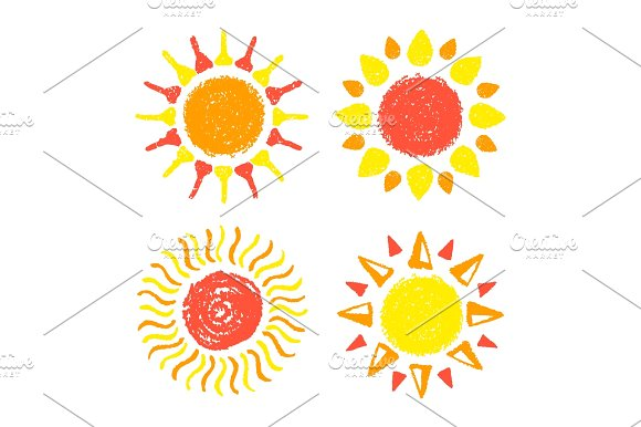 Drawn sun Drawn with Sun with painted