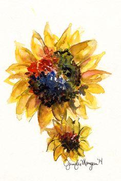 Drawn sunflower Can Original I  Watercolor