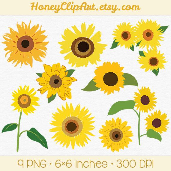 Yellow Flower clipart sunflower Drawing Sunflower Digital Yellow Etsy