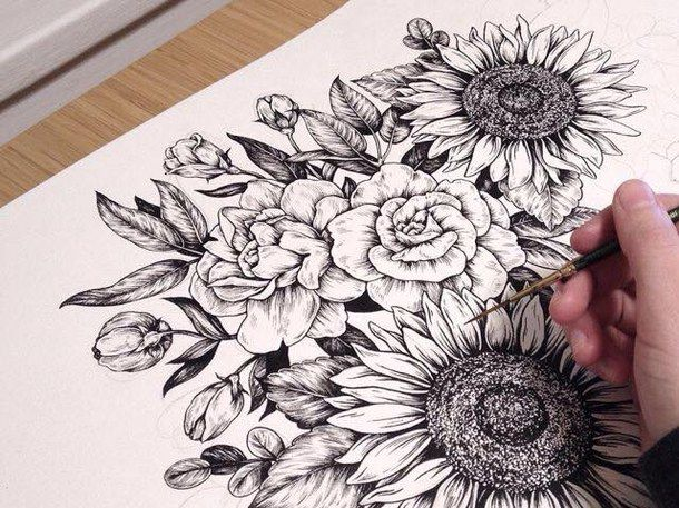 Drawn vintage flower Draw Best black Pinterest drawing
