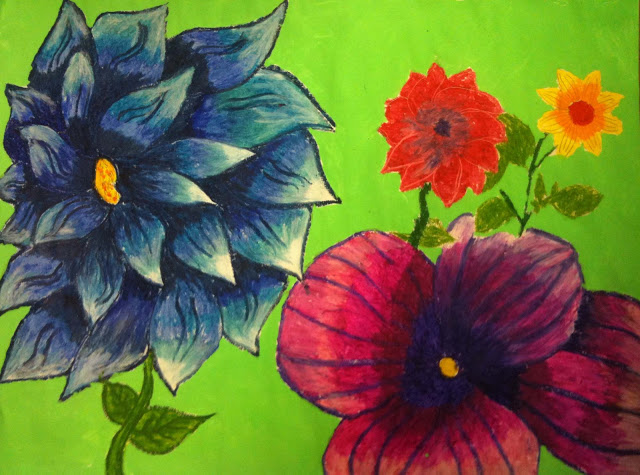 Drawn sunflower Paint flowers tempera backgrounds these