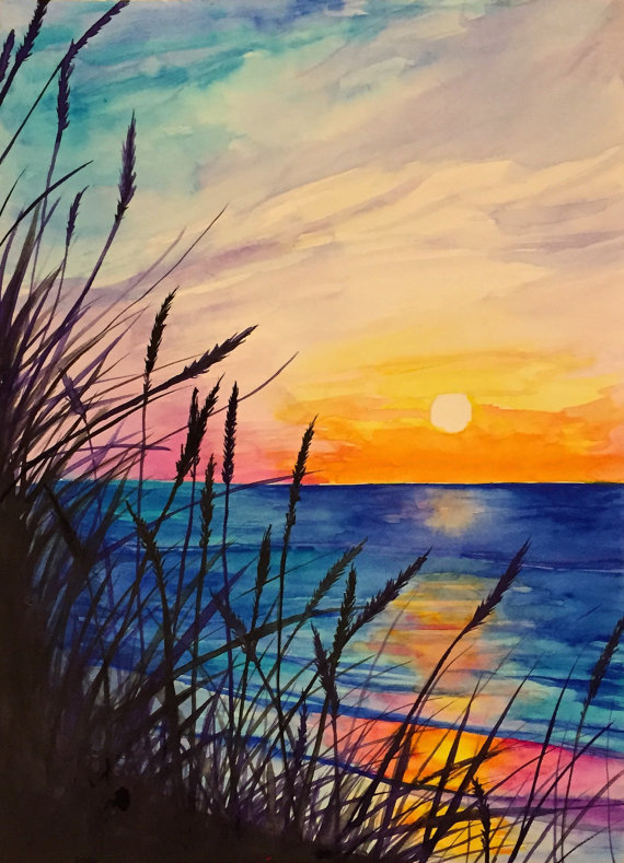Drawn sunrise easy Etsy on watercolor  by