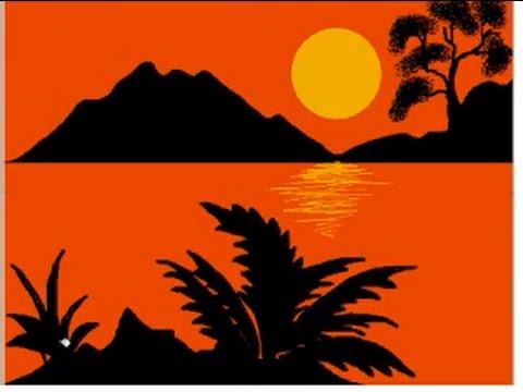 Drawn sunrise easy Paint MS method Painting using