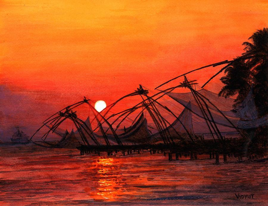 Drawn sunrise kerala scenery Painting In Art Kerala Singhal