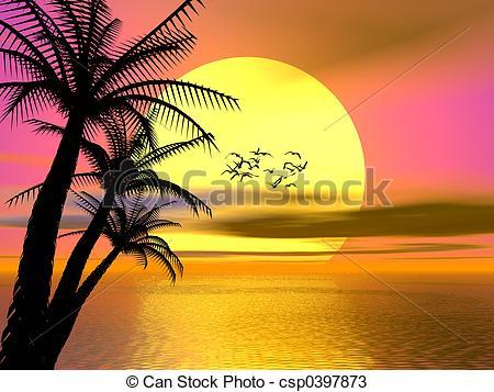 Drawn sunrise palm tree Sunset csp0397873  Drawings Colorful