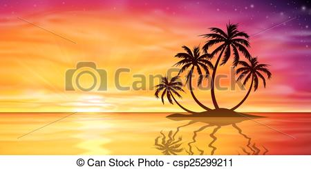 Drawn sunrise palm tree With Palm Tree with csp25299211