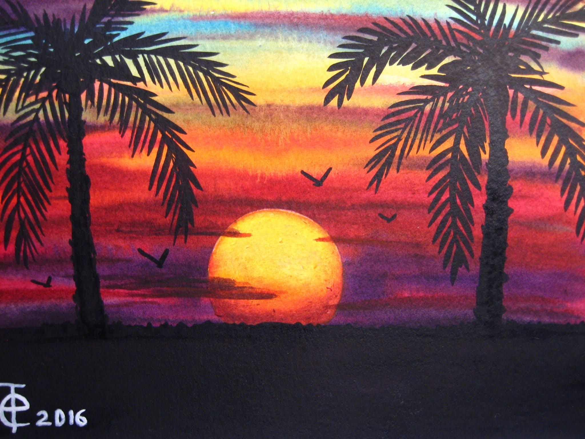 Drawn sunrise palm tree SUNSET WATERCOLOR PALM YouTube TREES