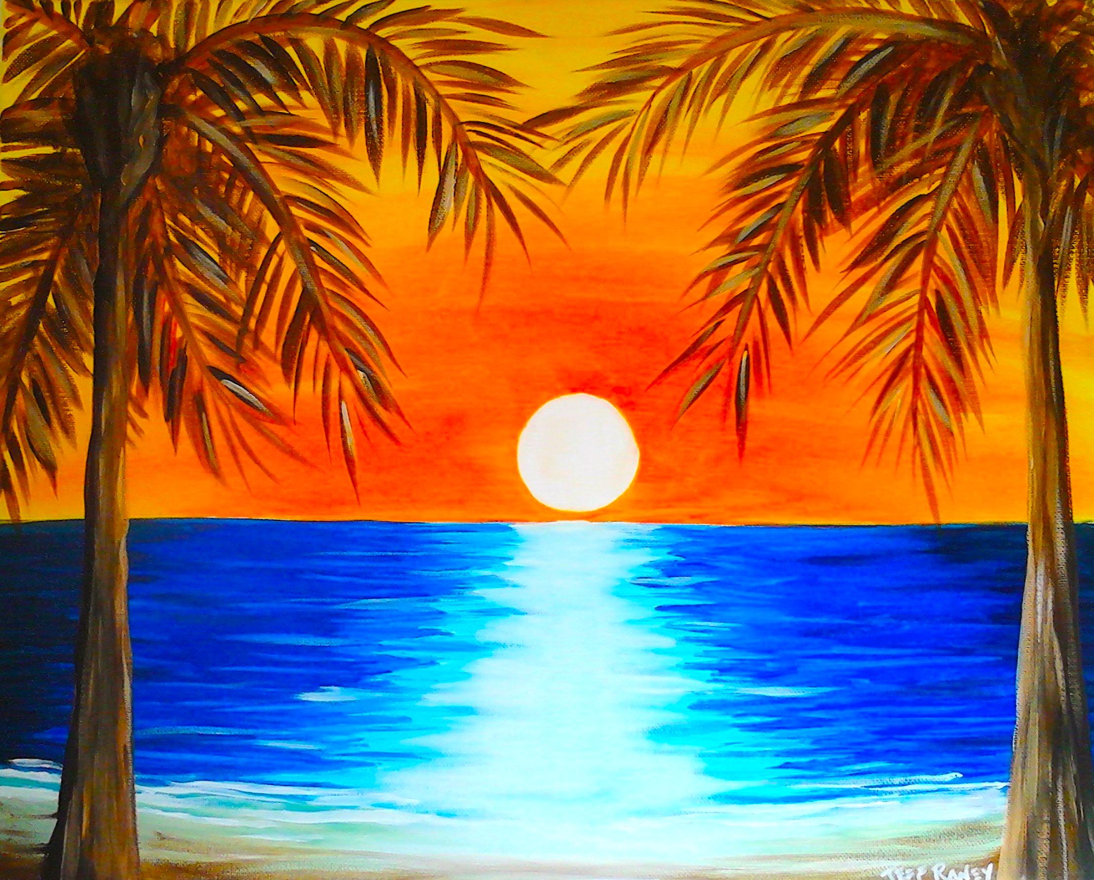 Drawn sunrise palm tree Wine Wine Canvas Pinterest Tropical