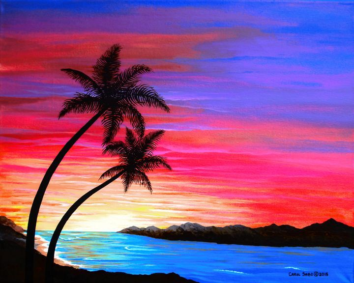 Drawn sunrise palm tree Pin on more images on