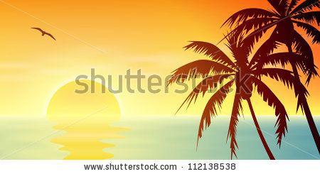 Drawn sunrise palm tree Sunset with with Sunrise Palm