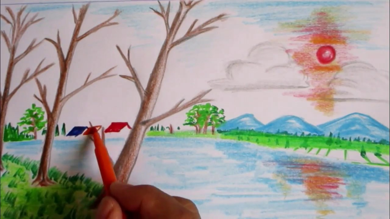 Drawn scenery sunrise A Scenery How landscape to