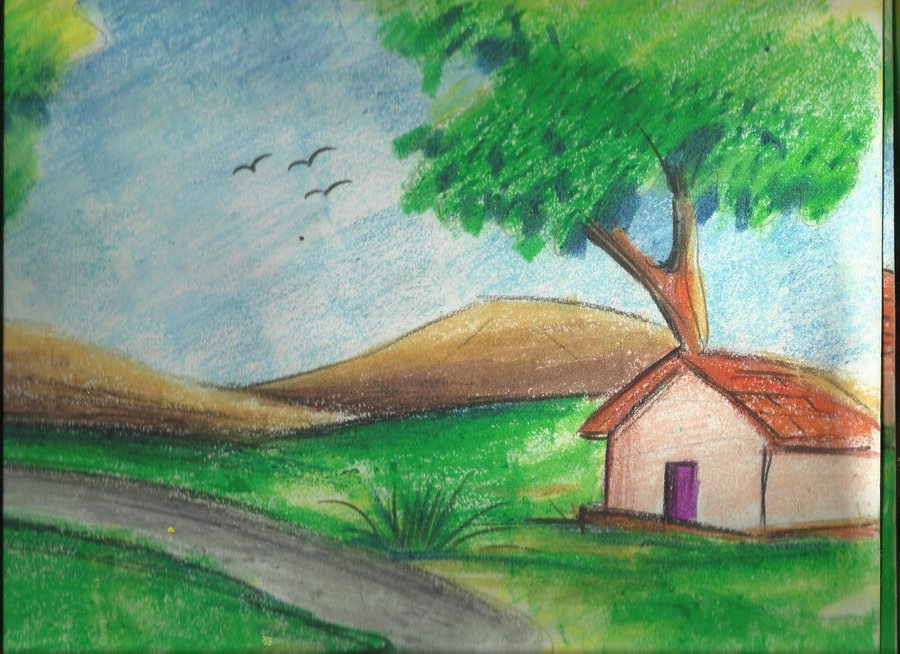 Drawn scenery easy Village Make Scenery by duttaditya18
