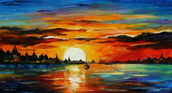 Drawn scenery sunrise Moon your inspiration Beautiful and