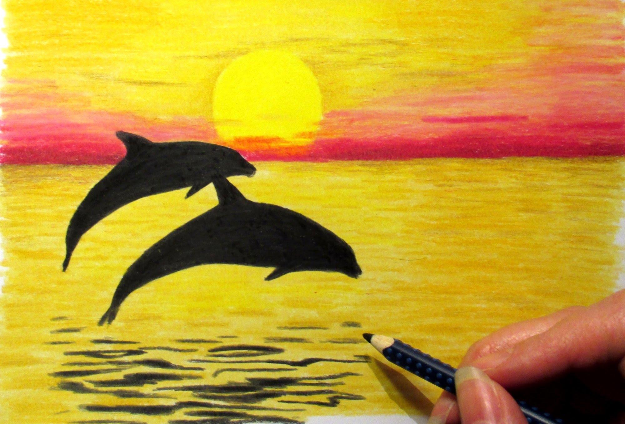 Drawn scenery sunrise Drawing 2 Of Scenery