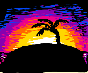 Drawn sunset Palm island Doctor by tree