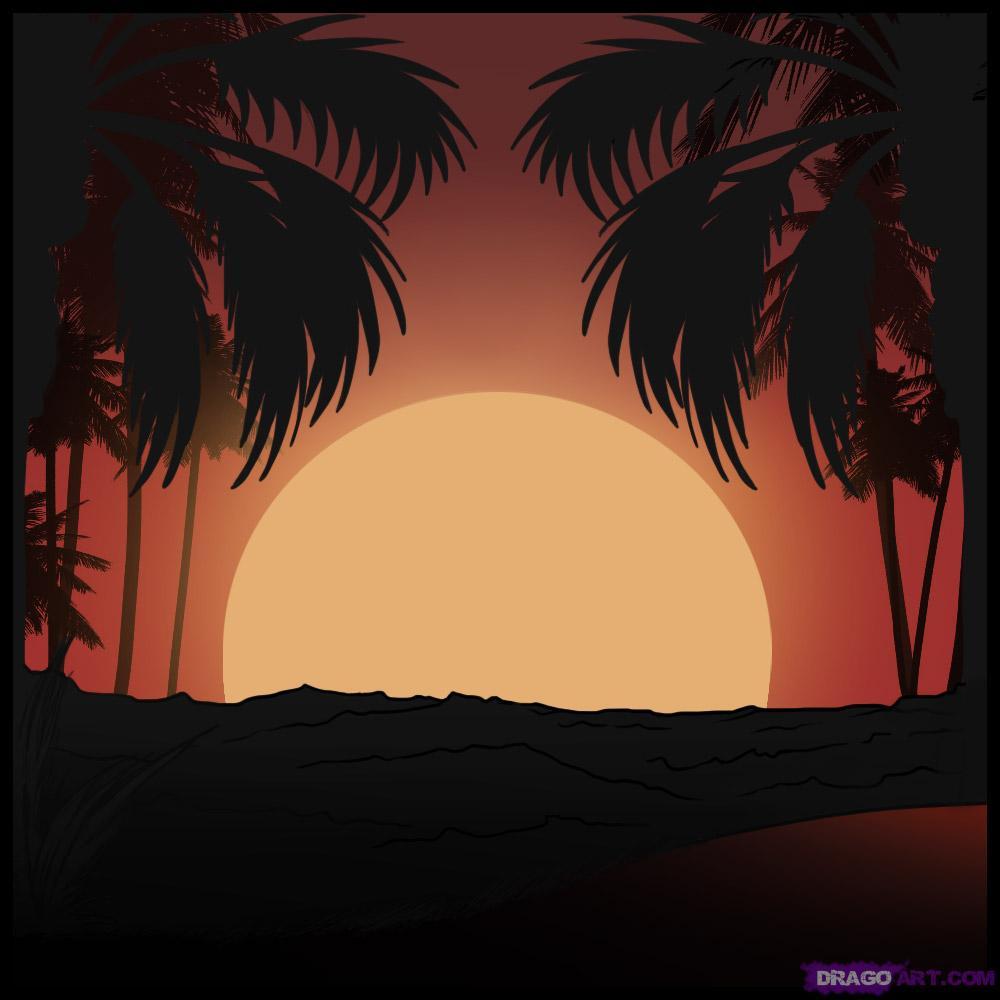 Drawn sunset Sunset draw Landmarks  &