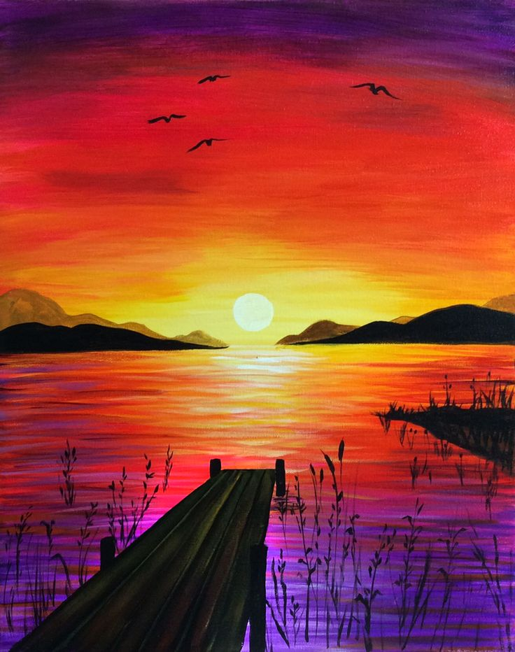 Drawn scenery canvas Sunset best on Pinterest sunset