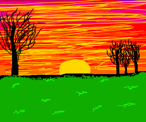 Drawn sunset (nicely a drawn) (nicely drawn)