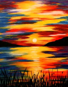 Drawn sunset mountain Blue Triptych x Home $145