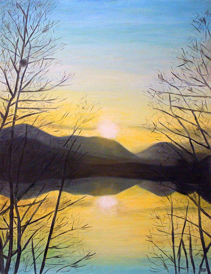 Drawn sunset mountain 25+ Mountain  paintings on