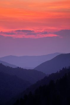 Drawn sunset mountain  in The Smoky Mountains