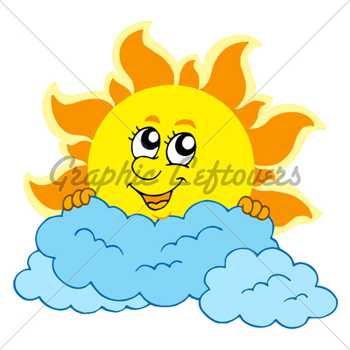 Drawn clouds cute cartoon Sun With Cute Vector GL