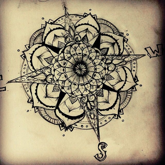 Drawn stare nautical #nautical Mandala tattoo compass #tattoo