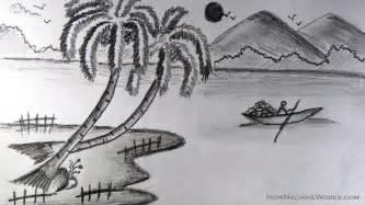 Drawn scenery boat Boat pencil a to sun