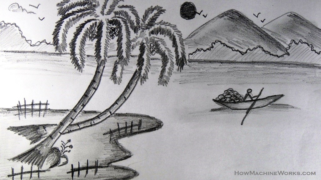 Drawn scenery boat Boat pencil  to to