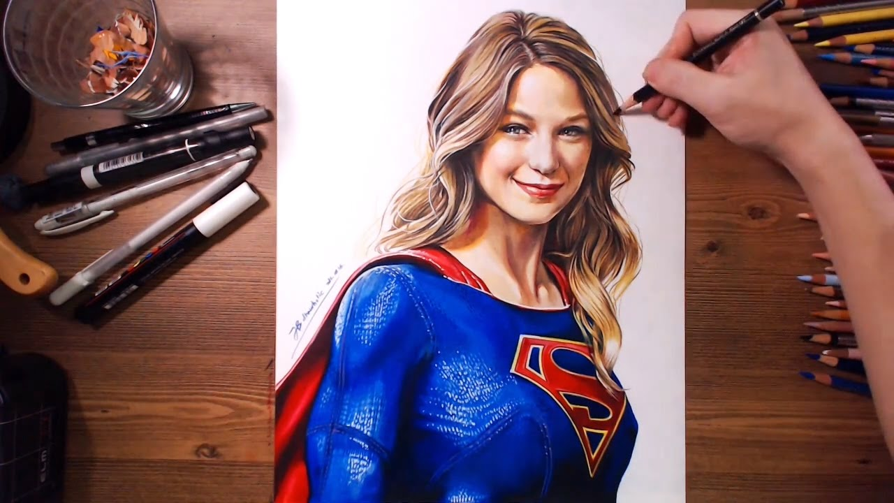 Drawn supergirl Colored speed Benoist) SuperGirl drawing
