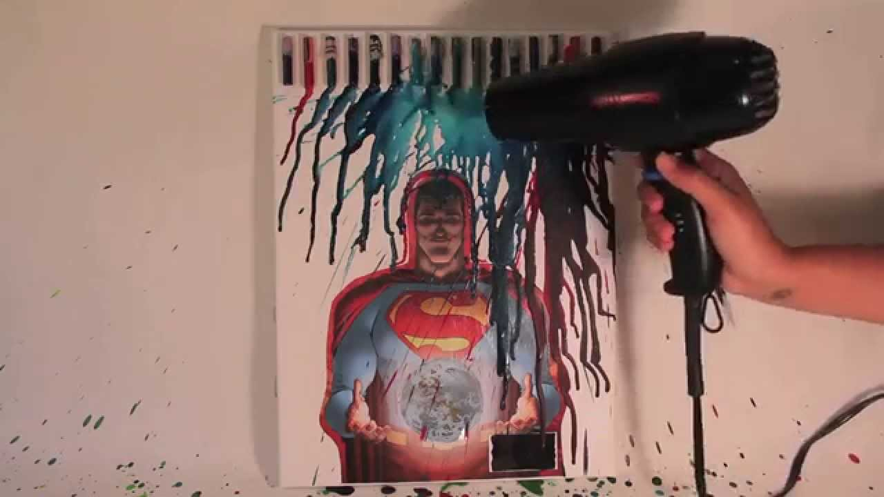 Drawn superman crayon YouTube Crayon Superman Melt Art