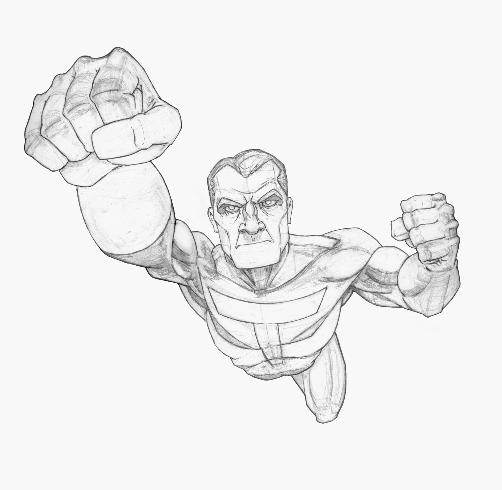 Drawn superman foreshortened Heres been on took working