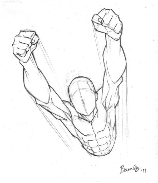 Drawn superman foreshortened 90 90 Flying on mins: