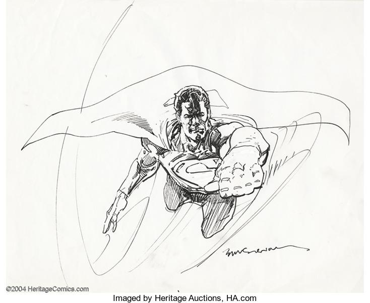 Drawn superman foreshortened Original of Original Sienkiewicz Superman