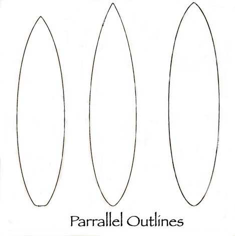 Drawn surfboard Surfboard Parallel Outline design Design