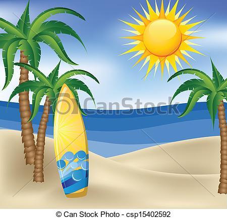 Drawn palm tree surfboard #6