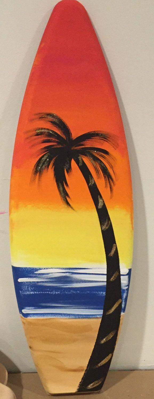 Drawn palm tree surfboard #4