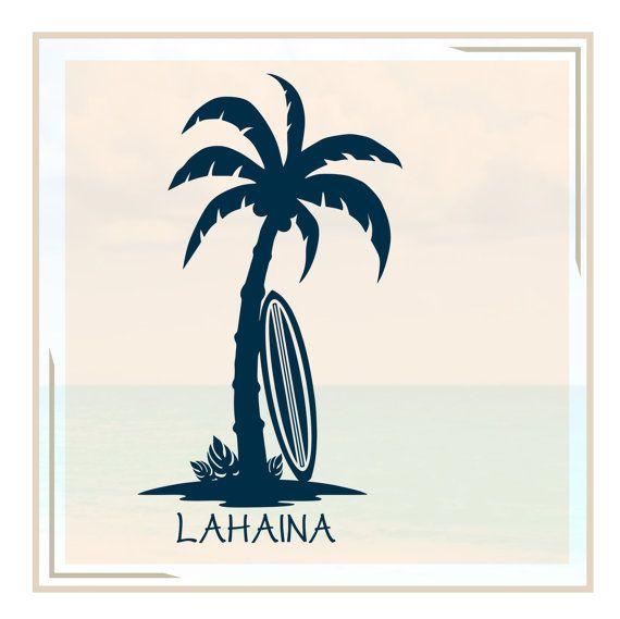 Drawn palm tree surfboard #1