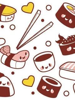 Drawn sushi chibi Download #42235 Wallpoper wallpaper 240x320