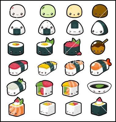 Drawn sushi chibi /Kawaii Food Graphic <3 design