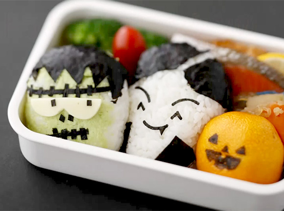 Drawn sushi face Halloween drawn mandarin simply on