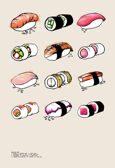 Drawn sushi sushi art Questions: Pencils one and Chopsticks