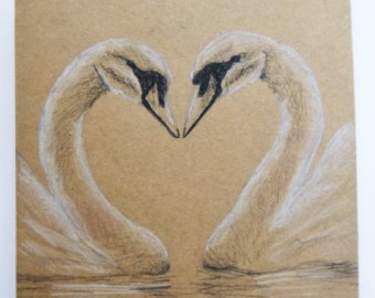Drawn swan Card Etsy card Hand Heart