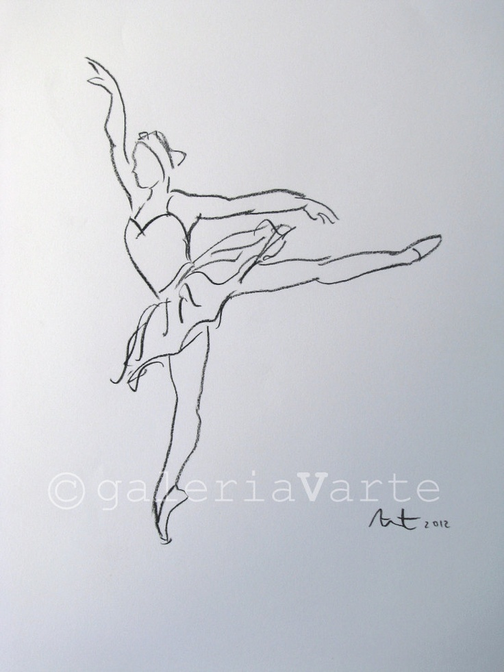 Drawn ballerine hand drawn Lake ballet charcoal drawing Original