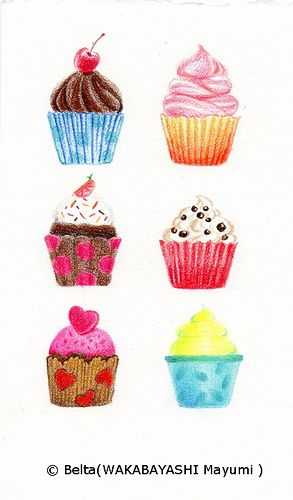 Drawn sweets colorful cupcake Best Cup images more this