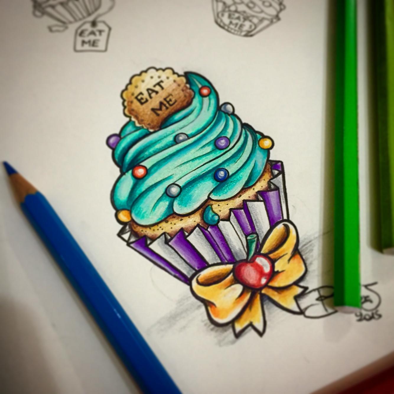 Drawn sweets colorful cupcake In Sweet tattoo wonderland tattoo