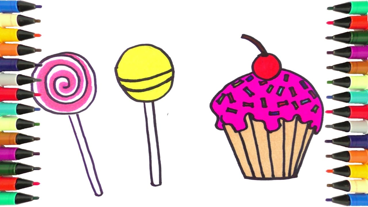 Drawn sweets colorful cupcake For Kids Cupcakes for and