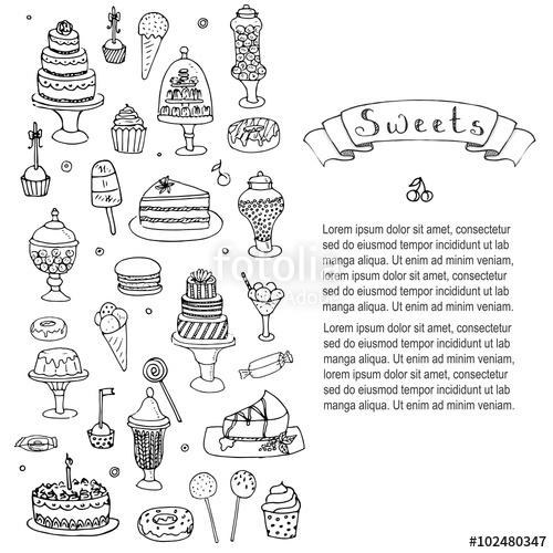 Drawn chocolate pastry Vector Sketchy Sweet drawn on