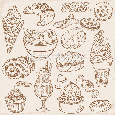 Drawn sweets realistic Desserts and hand Stock drawn