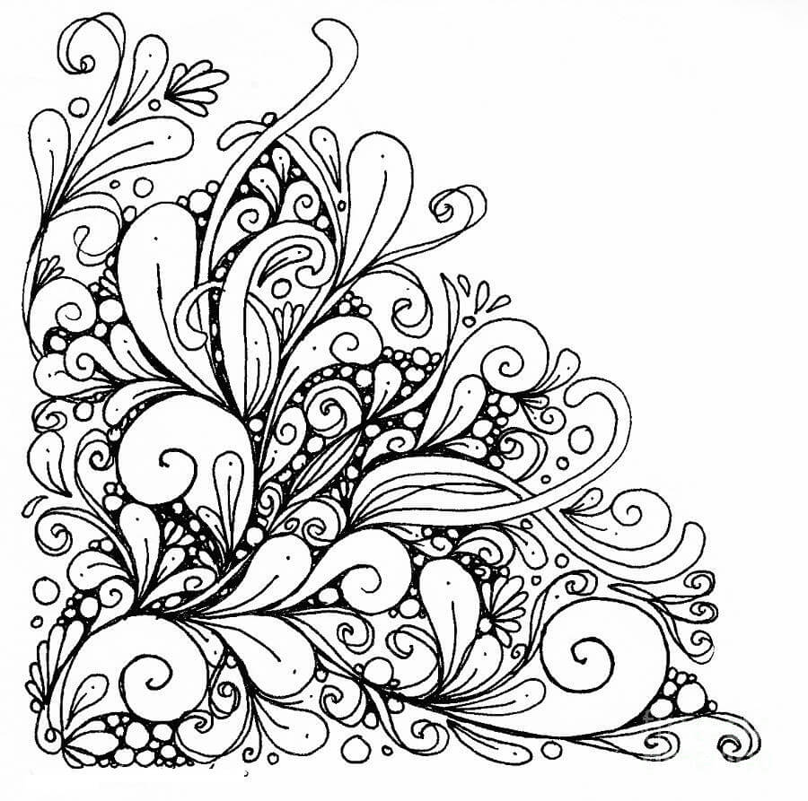 Drawn swirl girly Girly  Coloring Mandala antiestrés
